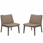 Modway Evade Lounge Chair Set of 2 in Walnut Latte MY-EEI-2025-WAL-LAT-SET