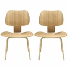 Modway Fathom Dining Chairs Wood Set of 2 in Natural MY-EEI-870-NAT