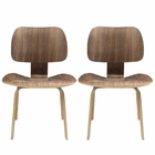 Modway Fathom Dining Chairs Wood Set of 2 in Walnut MY-EEI-870-WAL
