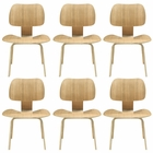 Modway Fathom Dining Chairs Wood Set of 6 in Natural MY-EEI-910-NAT