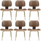 Modway Fathom Dining Chairs Wood Set of 6 in Walnut MY-EEI-910-WAL