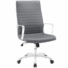 Modway Finesse Highback Faux Leather Office Chair in Gray MY-EEI-1061-GRY