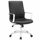 Modway Finesse Mid Back Faux Leather Office Chair in Black MY-EEI-1534-BLK