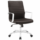 Modway Finesse Mid Back Faux Leather Office Chair in Brown MY-EEI-1534-BRN