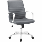 Modway Finesse Mid Back Faux Leather Office Chair in Gray MY-EEI-1534-GRY
