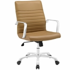 Modway Finesse Mid Back Faux Leather Office Chair in Tan MY-EEI-1534-TAN
