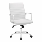 Modway Finesse Mid Back Faux Leather Office Chair in White MY-EEI-1534-WHI