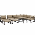 Modway Fortuna 10 Piece Outdoor Patio Aluminum Sectional Sofa Set in Brown Mocha MY-EEI-1720-BRN-MOC-SET