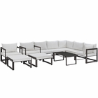 Modway Fortuna 10 Piece Outdoor Patio Aluminum Sectional Sofa Set in Brown White MY-EEI-1720-BRN-WHI-SET