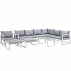 Modway Fortuna 10 Piece Outdoor Patio Aluminum Sectional Sofa Set in White Gray MY-EEI-1720-WHI-GRY-SET