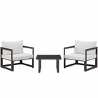 Modway Fortuna 3 Piece Outdoor Patio Aluminum Sectional Sofa Set in Brown White MY-EEI-1722-BRN-WHI-SET