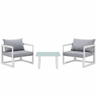 Modway Fortuna 3 Piece Outdoor Patio Aluminum Sectional Sofa Set in White Gray MY-EEI-1722-WHI-GRY-SET