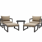 Modway Fortuna 5 Piece Outdoor Patio Aluminum Sectional Sofa Set in Brown Mocha MY-EEI-1721-BRN-MOC-SET
