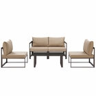 Modway Fortuna 5 Piece Outdoor Patio Aluminum Sectional Sofa Set in Brown Mocha MY-EEI-1724-BRN-MOC-SET