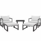 Modway Fortuna 5 Piece Outdoor Patio Aluminum Sectional Sofa Set in Brown White MY-EEI-1721-BRN-WHI-SET