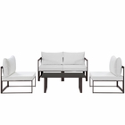 Modway Fortuna 5 Piece Outdoor Patio Aluminum Sectional Sofa Set in Brown White MY-EEI-1724-BRN-WHI-SET