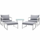 Modway Fortuna 5 Piece Outdoor Patio Aluminum Sectional Sofa Set in White Gray MY-EEI-1721-WHI-GRY-SET