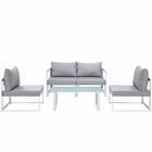 Modway Fortuna 5 Piece Outdoor Patio Aluminum Sectional Sofa Set in White Gray MY-EEI-1724-WHI-GRY-SET