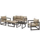 Modway Fortuna 6 Piece Outdoor Patio Aluminum Sectional Sofa Set in Brown Mocha MY-EEI-1723-BRN-MOC-SET