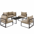 Modway Fortuna 6 Piece Outdoor Patio Aluminum Sectional Sofa Set in Brown Mocha MY-EEI-1726-BRN-MOC-SET