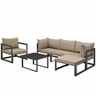 Modway Fortuna 6 Piece Outdoor Patio Aluminum Sectional Sofa Set in Brown Mocha MY-EEI-1731-BRN-MOC-SET