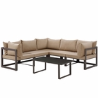 Modway Fortuna 6 Piece Outdoor Patio Aluminum Sectional Sofa Set in Brown Mocha MY-EEI-1732-BRN-MOC-SET
