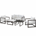 Modway Fortuna 6 Piece Outdoor Patio Aluminum Sectional Sofa Set in Brown White MY-EEI-1723-BRN-WHI-SET