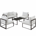 Modway Fortuna 6 Piece Outdoor Patio Aluminum Sectional Sofa Set in Brown White MY-EEI-1726-BRN-WHI-SET