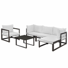 Modway Fortuna 6 Piece Outdoor Patio Aluminum Sectional Sofa Set in Brown White MY-EEI-1731-BRN-WHI-SET