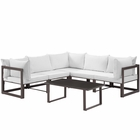 Modway Fortuna 6 Piece Outdoor Patio Aluminum Sectional Sofa Set in Brown White MY-EEI-1732-BRN-WHI-SET