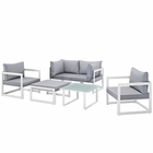 Modway Fortuna 6 Piece Outdoor Patio Aluminum Sectional Sofa Set in White Gray MY-EEI-1723-WHI-GRY-SET