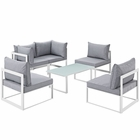 Modway Fortuna 6 Piece Outdoor Patio Aluminum Sectional Sofa Set in White Gray MY-EEI-1726-WHI-GRY-SET