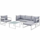 Modway Fortuna 6 Piece Outdoor Patio Aluminum Sectional Sofa Set in White Gray MY-EEI-1731-WHI-GRY-SET