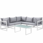 Modway Fortuna 6 Piece Outdoor Patio Aluminum Sectional Sofa Set in White Gray MY-EEI-1732-WHI-GRY-SET