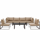 Modway Fortuna 7 Piece Outdoor Patio Aluminum Sectional Sofa Set in Brown Mocha MY-EEI-1729-BRN-MOC-SET
