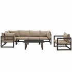 Modway Fortuna 7 Piece Outdoor Patio Aluminum Sectional Sofa Set in Brown Mocha MY-EEI-1733-BRN-MOC-SET