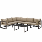 Modway Fortuna 7 Piece Outdoor Patio Aluminum Sectional Sofa Set in Brown Mocha MY-EEI-1737-BRN-MOC-SET