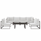 Modway Fortuna 7 Piece Outdoor Patio Aluminum Sectional Sofa Set in Brown White MY-EEI-1729-BRN-WHI-SET