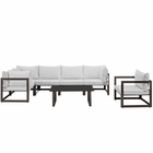 Modway Fortuna 7 Piece Outdoor Patio Aluminum Sectional Sofa Set in Brown White MY-EEI-1733-BRN-WHI-SET