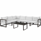 Modway Fortuna 7 Piece Outdoor Patio Aluminum Sectional Sofa Set in Brown White MY-EEI-1737-BRN-WHI-SET