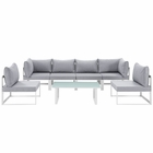 Modway Fortuna 7 Piece Outdoor Patio Aluminum Sectional Sofa Set in White Gray MY-EEI-1729-WHI-GRY-SET