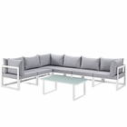 Modway Fortuna 7 Piece Outdoor Patio Aluminum Sectional Sofa Set in White Gray MY-EEI-1737-WHI-GRY-SET
