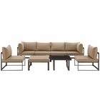 Modway Fortuna 8 Piece Outdoor Patio Aluminum Sectional Sofa Set in Brown Mocha MY-EEI-1728-BRN-MOC-SET