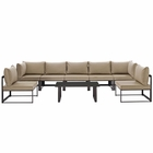 Modway Fortuna 8 Piece Outdoor Patio Aluminum Sectional Sofa Set in Brown Mocha MY-EEI-1730-BRN-MOC-SET