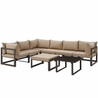 Modway Fortuna 8 Piece Outdoor Patio Aluminum Sectional Sofa Set in Brown Mocha MY-EEI-1735-BRN-MOC-SET