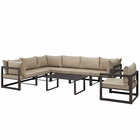 Modway Fortuna 8 Piece Outdoor Patio Aluminum Sectional Sofa Set in Brown Mocha MY-EEI-1736-BRN-MOC-SET