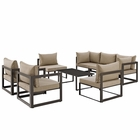 Modway Fortuna 8 Piece Outdoor Patio Aluminum Sectional Sofa Set in Brown MY-EEI-1725-BRN-MOC-SET