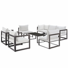 Modway Fortuna 8 Piece Outdoor Patio Aluminum Sectional Sofa Set in Brown White MY-EEI-1725-BRN-WHI-SET