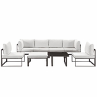 Modway Fortuna 8 Piece Outdoor Patio Aluminum Sectional Sofa Set in Brown White MY-EEI-1728-BRN-WHI-SET