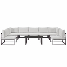Modway Fortuna 8 Piece Outdoor Patio Aluminum Sectional Sofa Set in Brown White MY-EEI-1730-BRN-WHI-SET